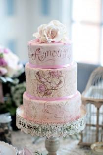 wedding photo - Vintage French Wedding Hand Painted Wedding Cake