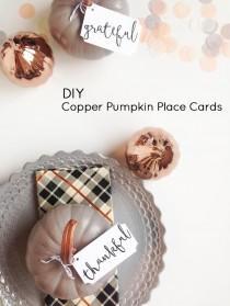 wedding photo - Copper Pumpkin Place Cards