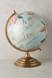 wedding photo - Handpainted Wanderlust Globe