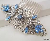 wedding photo - Bridal Rhinestone Hair Comb, Wedding Rhinestone Hair Comb, Rose Rhinestone Hair Comb, Swarovski Crystals,Something Blue Hair Comb,ROSELANI