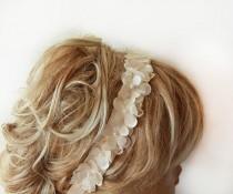 wedding photo - Lace ıvory Pearl  Flowers Headband, Bridal Hair Accessories, Wedding Hair Accessories, Pearl Headband,  Bridal, Bridesmaid Headband