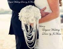 wedding photo - JEWELED WEDDING BOUQUET- Deposit for Elegant Ivory Cascading Pearl Elegant Brooch Bouquet, Custom Wedding Bouquet, Cascade Bouquet