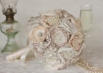 wedding photo - Vintage Inspired Brooch Wedding Bouquet, Ivory, Cream and Champagne, Satin, chiffon and Lace Bouquet