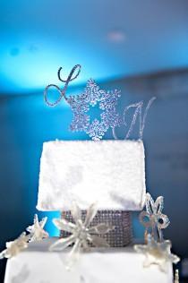 wedding photo - Custom Snowflake Cake Topper - Custom Shape - Brush Metal - Swarovski Crystal Cake Topper - Removable Stakes