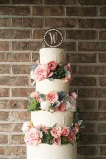 wedding photo - Wood Wedding Cake Topper - Wreath with Monogram
