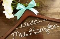 wedding photo - Bride's Dated Two Tier Wedding Dress Hanger.....Bridal Party.......Personalized Wedding Hanger......Wire Name Hanger