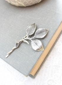 wedding photo - Silver Branch Bobby Pins Antique Silver Leaf Hair Pin Bridesmaid Gift Leaf Bobbies Garden Wedding Leaves for Hair Vintage Style Bridal