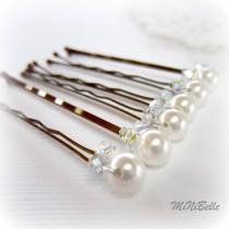 wedding photo - Bridal Hair Pins. White Pearl Hair Pins. Pearl Hair Pins w Swarovski Crystal Accents. Set of 6 Hair Pins