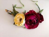 wedding photo - Cranberry Bridal Flower crown headpiece Handmade Wedding party prom photo shoot