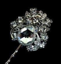 wedding photo - Crystal Bridal Hair Pin, Art Nouveau Headpiece, Bridesmaid Hair Jewelry, Rhinestone Bobby Pin, LENA