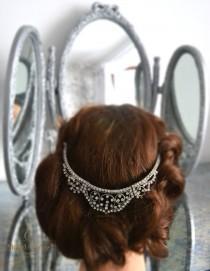 wedding photo - Art Deco Vintage bridal tiara/ headdress/ headpiece. One of a kind. Crystal wedding hair accessory. Downton Abbey vintage hair accessory