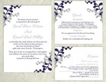 wedding photo - DIY Wedding Invitation Template Set Editable Word File Instant Download Printable Invitation Gray Wedding Invitation Blue Invitations