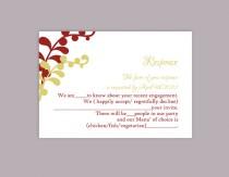 wedding photo - DIY Wedding RSVP Template Editable Text Word File Download Printable RSVP Cards Leaf Rsvp Card Red Rsvp Card Template Green Rsvp Card