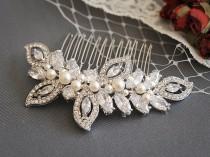 wedding photo - Bridal Hair Comb, Swarovski Wedding Hair Comb, Crystal Bridal Hairpiece, Pearl Wedding Headpiece, CZ Rhinestone Hair Clip, AUGUSTINA