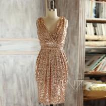 wedding photo - 2015 Short Rose Gold Bridesmaid dress, Sheath V neck Luxury Sequin Evening dress, Metallic Sparkle Wedding dress, V Back Knee length (T150D)