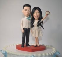 wedding photo - wedding cake topper personalized toppers funny cartoon bride & groom figurines engagement cake topper