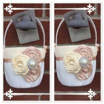 wedding photo - Set of Flower girl baskets /blush  Flower girl basket / YOU DESIGN / Blush  Flower girl basket