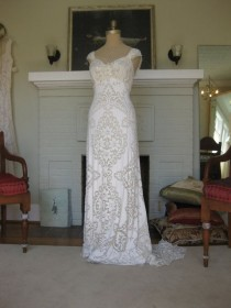 wedding photo - Reserved For Carly Hippie Boho Glam Gown One Of A Kind Hand Made From Vintage Laces