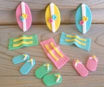 wedding photo - Pool Party Cake Cupcake Edible Fondant Decor, Beach Summer Birthday Wedding Baby Shower Toppers, Surfboards Flipflops Towels - set 24