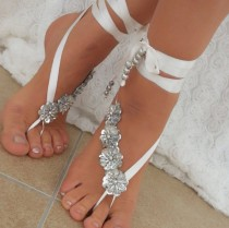 wedding photo - ivory Beach wedding barefoot sandals, Ivory Barefoot Sandals, Sexy, Yoga, Anklet , Bellydance, Steampunk, Beach Pool