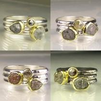 wedding photo - Custom Rough Diamond Ring Stacking Set, Raw Diamond Triple Stacking Rings, Gold and Silver Raw Diamond Engagement Rings