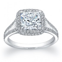 wedding photo - Ladies 18kt pave diamond halo engagement ring with a natural 2ct Cushion Shape white sapphire with 0.45 ctw G-VS2 diamonds