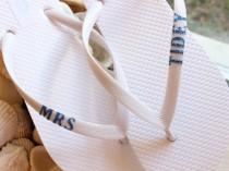 wedding photo - Mrs Flip Flops, bride flip flops, monogram sandals, wedding sandals, bridal shoes flat, beach wedding shoes, monogram shoes, for bride to be