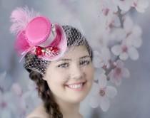 wedding photo - Pink Mini Top Hat, Bridal Hat, Mini Hats, Tea Party Hat, Mad Hatter Hat, Pink Fascinator,  Top Hat, Women Mini Top Hat, Women Fascinator