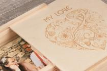 wedding photo - Small Custom personalised Wooden 16Gb USB stick and sliding lid box
