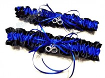 wedding photo - Handcuff garters, thin blue line police wedding garter set, black and royal blue satin garters.