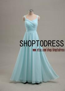 wedding photo - Light blue bridesmaid dress Spaghetti straps, Wedding party bridesmaid dress, Blue prom dress, Homecoming Party dress custom size