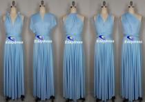 wedding photo - Maxi Full Length Bridesmaid Convertible Wrap Dresses Multiway Long Sky blue Pastel blue Infinity Dress