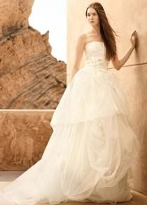 wedding photo - Tulle Ball Gown With Lace Appliques - Davids Bridal