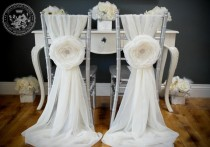wedding photo - 2 Wedding Large Chiffon Fabric Flower - Wedding Chair Cover Accessories - Sweetheart Table Chair
