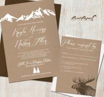 wedding photo - Wedding Invitation Suite: (Mountains, Colorado, Kraft Paper, Rustic, Outdoor) Mountain Retreat DIGITAL