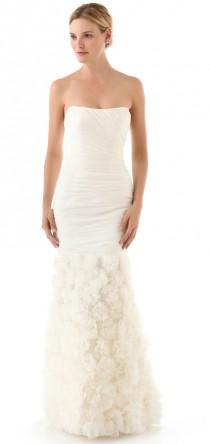wedding photo - Theia Strapless Rosette Gown