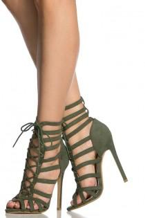 wedding photo - Olive Faux Suede Cage Lace Up Single Sole Heels - Shoes Fashion, High Heels, Sandals, Boots, Pumps, Wedges, Platform. Modern And Vintage Collections. - Shoes Fashion & Latest Trends