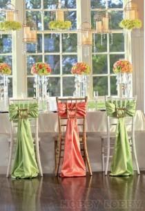 wedding photo - Satin Chair Sash - Willow Green [EF Satin Willow Green Chair Sash]