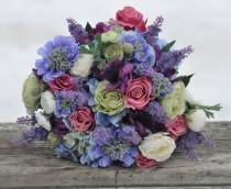 wedding photo - Silk Wedding Bouquet, Wedding Bouquet, Keepsake Bouquet, Bridal Bouquet, Raspberry Pink Roses, Blue Hydrangea silk flowers.