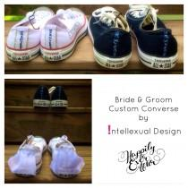 Wedding Converse Bride and Groom Custom Painted Shoes WITH Mini Veils for  Bride 1578c48f7