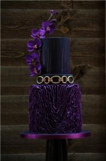 wedding photo - Purple, Black And Gold Wedding Cake