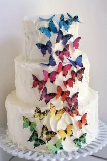 "wedding photo - 28 rainbow ombre edible butterflies, 1 1/2"" across,  cake decorating, cookies, cupcakes, cake pops. Wafer paper butterflies, cake toppers."