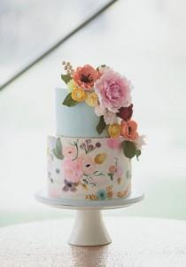 wedding photo - Wedding Cake Wednesday - Hand Painted Cakes