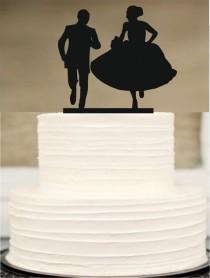 wedding photo - Funny Wedding cake topper,Silhouette cake topper,initial Cake Topper,Unique Wedding Cake Topper,Rustic Wedding Cake Topper,Bride and Groom