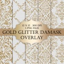wedding photo - Gold Glitter Damask Digital Clip Art Overlay  - damask glitter metallic sparkle transparent background for scrapbooking invitations cards