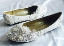 wedding photo - White Wedding Flats,Bridal Ballet Shoes,Comfortable Flats,Shoes Flat Lace Shoes Womens Wedding Shoes