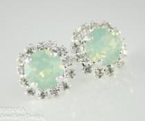 wedding photo - mint opal earrings,mint crystal stud earrings, mint bridesmaid earrings,mint stud earrings,swarovski earrings, mint jewelry, mint earrings