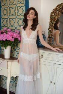 ce6b89da05c Long Tulle Bridal Nightgown With Lace F11