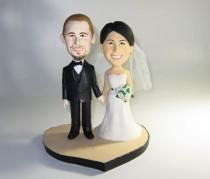 wedding photo - Unique wedding cake topper personalized customm polymer clay toppers funny cartoon bride & groom figure figurines