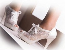 wedding photo -  Handmade Lace wedding shoe designed specially  + GIFT Bridal Pantyhose. #8445